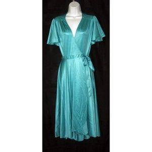 Vtg 70s Shimmering Blue Green Wrap Dress S